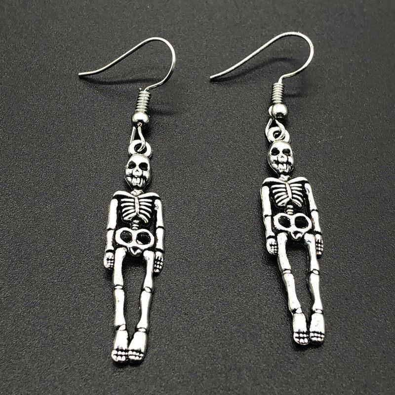 Holiday Jewelry Silver Animal Skull Halloween Earrings