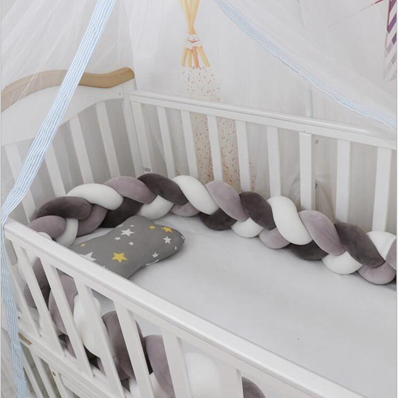 1M/2M/3M Mixed Colours Baby Bed Bumper Braided Crib Pillow Knot Cushion Bolster Pillow Kids Crib Bumper Pillow Nursery Decor