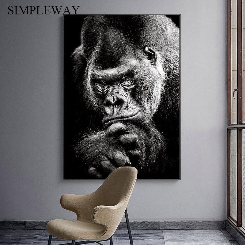Ape Affe Tier Poster Schwarz Weiß Leinwand Druck Abstrakte Grafik Kunst Malerei Nordic Wand Bild für Wohnzimmer Dekoration