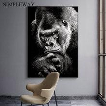 Małpa małpa plakat ze zwierzętami czarny biały druk na płótnie abstrakcyjna grafika artystyczny obraz Nordic obraz ścienny do dekoracji salonu
