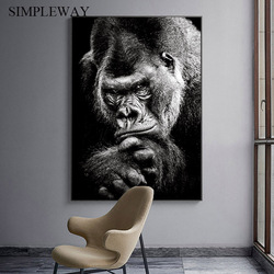Ape Monkey Animal Poster Black White Canvas Print Abstract Artwork Art Painting Nordic Wall Picture for Living Room Decoration