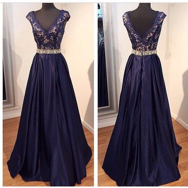 Beaded Navy Blue Lace Evening Gown A Line Long Prom 2018 V Neck Women Formal Vestido De Festa Mother Of The Bride Dresses