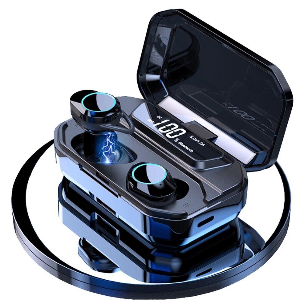 TWS G02 Bluetooth-гарнитура; Беспроводные наушники; 9D стерео музыка; IPX7 водонепроницаемые наушники; Наушники с 3300 мА/ч; Длительный срок службы батар...