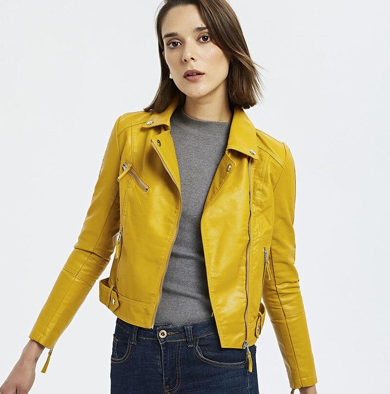Leather   jackets women 2019 Korean Slim locomotive women's   leather   jacket lapel chaqueta de cuero mujer