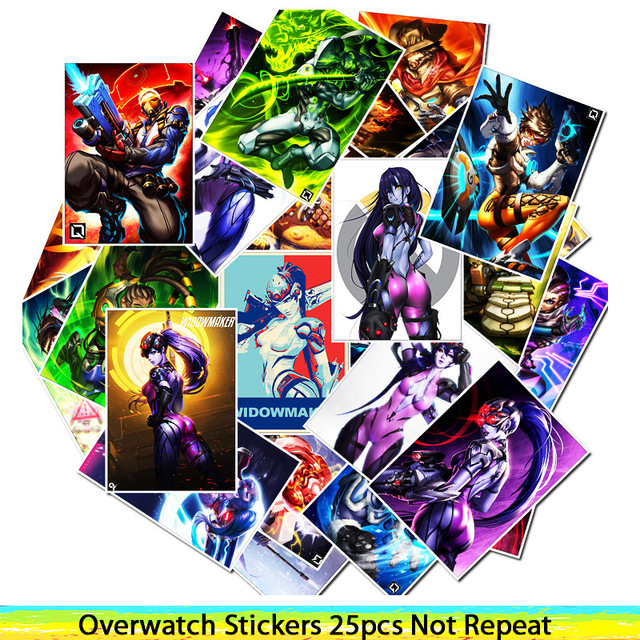 25Pcs School Sticky Notes Papelaria Game Overwatch Black Lily Stationery Sticker Waterproof 1