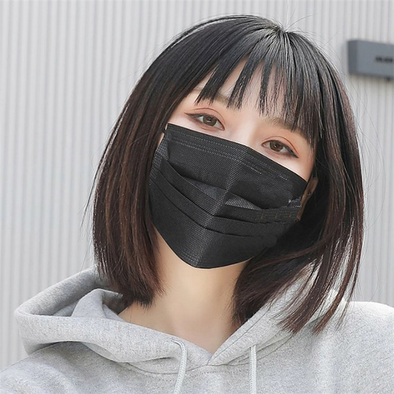 Hot Sale 1pcs Mouth Mask Anti-dust Safe Breathable Disposable Three-layer Non-Woven Black Ear Loop Face Mask 2020 High Quality