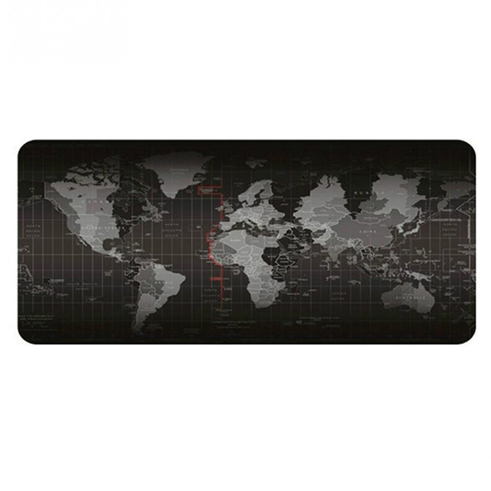 World Map Keyboard Pad Oversized Non-slip Padded Mouse Pad Game Keyboard Pad Black Grey For Gaming Keyboard And Mouse