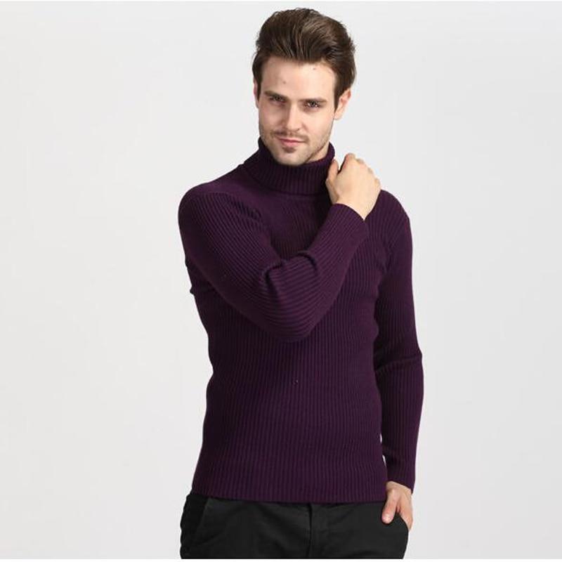 Men Sweater 2019 Winter Men's Turtle Neck Knited Wool Blend Blue Black Purple Plus Size 3XL M 100 KG Xmas Sweaters Pull Homme