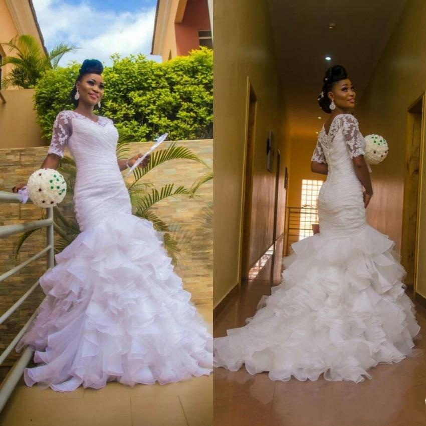 White 2020 Mermaid Wedding Dresses With Short Sleeves Ruffles Organza Train Lace Buttons Back Custom Made Vintage Bridal Gowns