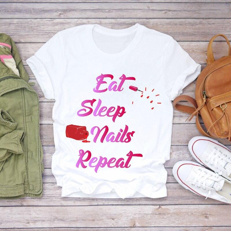 Women 2020 Summer Fingernail Nail Art Girl Cute 90s Ladies Lady T-shirts Top T Shirt Ladies Womens Graphic Female Tee T-Shirt