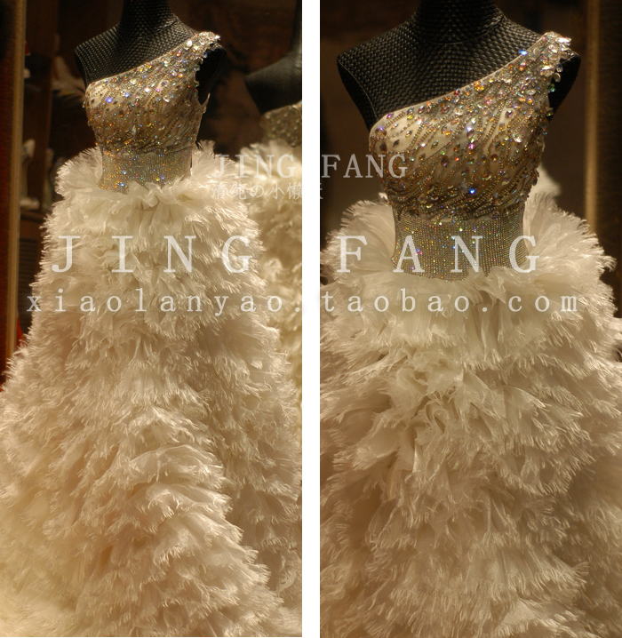 Casamento Romantic Sexy Fashionable Organza Luxury Crystal Vestido De Novia Wedding Dress 2016 Ball Bridal Gown Free Shipping