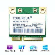 Wi-Fi, 6E TL-AX210 Mini PCI-E Wi-Fi карты для Intel AX210 2974 Мбит/с Bluetooth 5,2 802.11ax 2,4G/5G/6G, чем AX200 Беспроводной адаптер