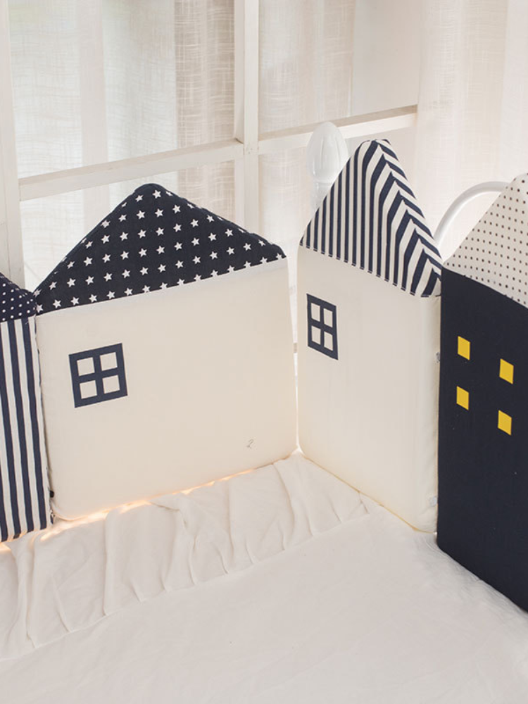 Bed fence baby cute house baby children's room bed fence soft bag decoration anti-collision cushion bed fence four-piece suit