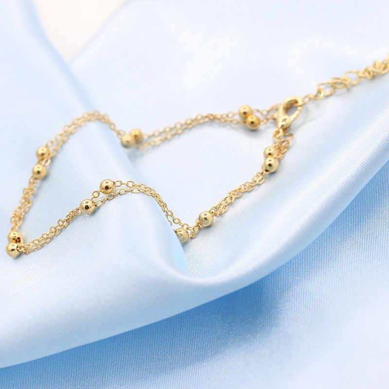 Золотые серебряные шикарные лаконичные двухслойные Свадебные ножные браслеты цепь, подвеска, бусины браслет для ног украшения для щиколотки для женщин