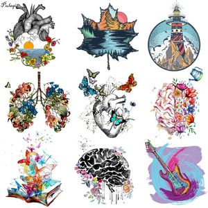 Anatomical Heart Brain Eye Lung Iron on Transfers Wave Patched Vinyl Heat Transfer Patches For Clothing Applique Stickers DIY