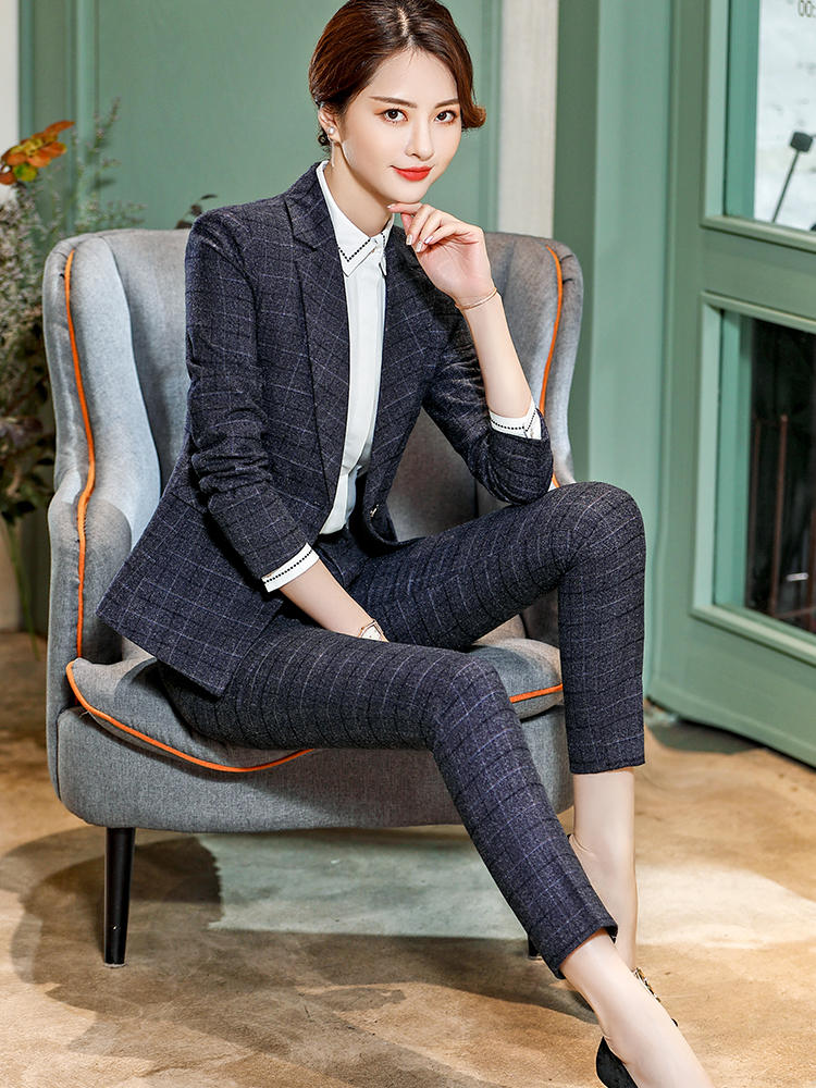 Plaid Pants Pencil-Trousers Pocket-Fashion-Style Elegant Office Lady Casual Women Lenshin