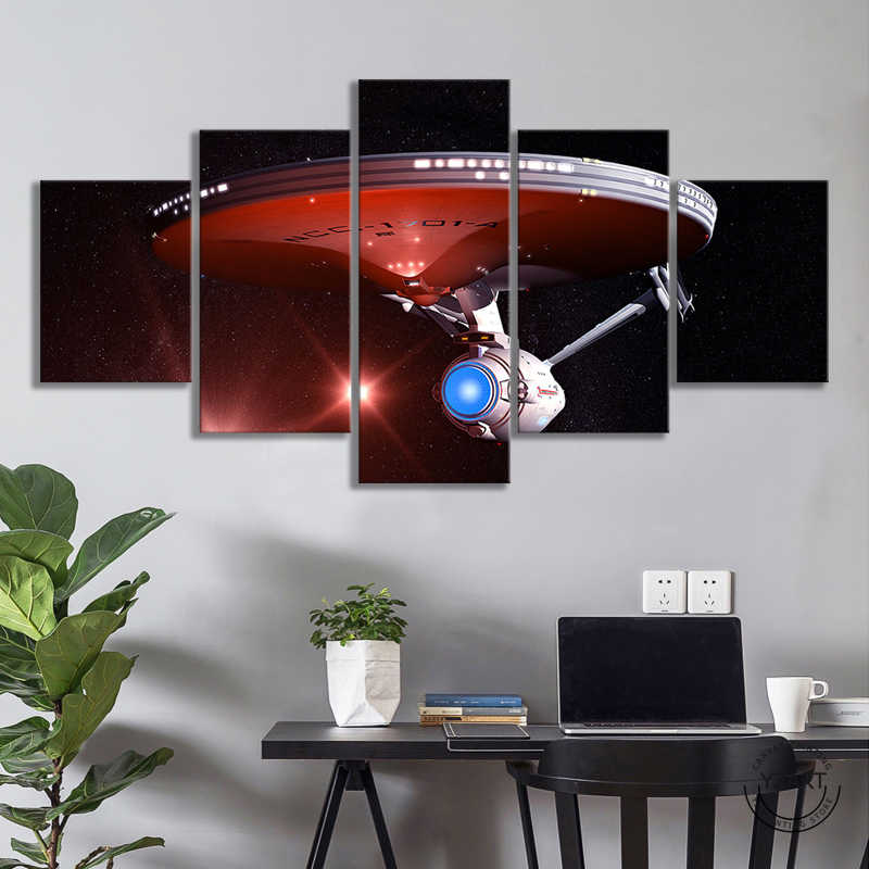 5pcs Star Trek Movie Poster Canvas Wall Art Painting Spaceship Poster Wall Paintings for Bedroom Wall Decor,Unframed