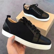 Designer Low Cut Sneakers Leisure Lace Up Black leather with mesh none Spikes Red bottom For Men Womem Shoes casual Flat Loafers(China)