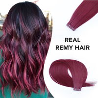 sobeauty Deep Red color Hair 18inch Tape In Human Hair Extensions Remy Hair Skin Weft Hair Extensions 20PCS/PACK Russian Hair