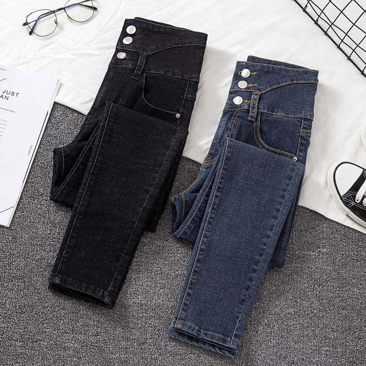 Woman Jeans Single-breasted Patchwork Skinny Denim Pencil Pants For Woman High Waist Jean Female New Spring Autumn Trousers