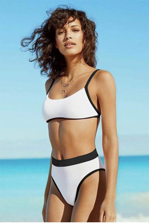 قطعتين ملابس السباحة ثونغ موهير مثير البيكينيات النساء ملابس السباحة الخامس الرقبة عالية مخصر الصلبة بحر عالية قطع ثوب السباحة السباحة الإناث
