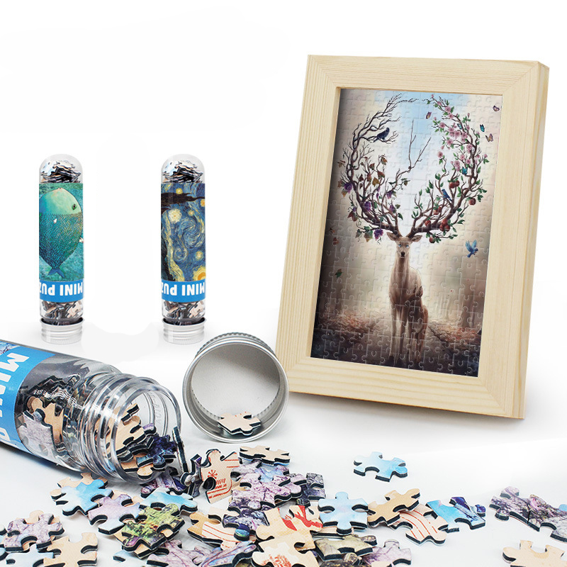 150pcs DIY Puzzle Mini Test Tube Puzzle With Wooden Frame Child Adult Puzzle Decompression Double-sided Puzzle Toy