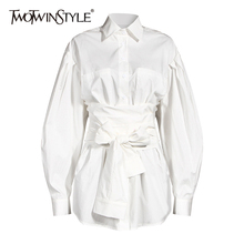 TWOTWINSTYLE White Bowknot  Shirt For Women Lapel Lantern Sleeve Bandage High Waist Casual Blouse Female 2020 Autumn New Tide