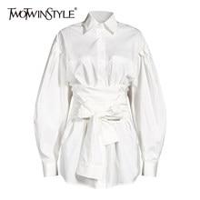 TWOTWINSTYLE Bianco Bowknot Camicia Per Le Donne Risvolto Del Manicotto Della Lanterna Fasciatura A Vita Alta Casual Camicetta Femminile 2020 di Autunno Nuova Marea