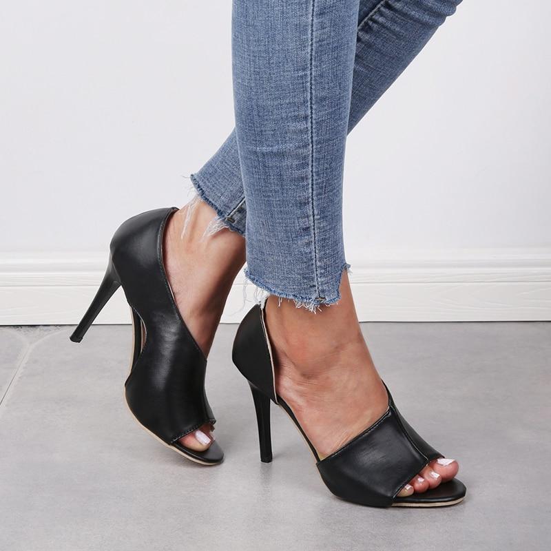 black heel open toe