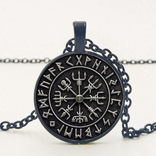 statement / New Vegvisir Viking Compass Pendant Jewelry Glass Cabochon Necklace Men and Women Clothing Accessories