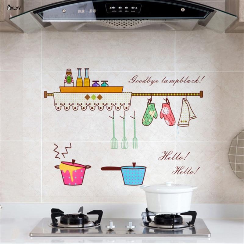 BXLYY New Kitchen Oil Stickers 60 90cm Transparent High Temperature Stickers Kitchen Gadgets Home Decoration Kitchen Tools 8z