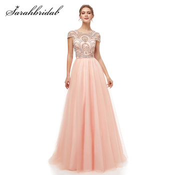 New Formal 3 Layers Evening Dresses Long 2021 Elegant Women Tulle Cap Sleeve Beading Banquet Prom Party Gown Robe De Soiree 5222 - discount item  47% OFF Special Occasion Dresses