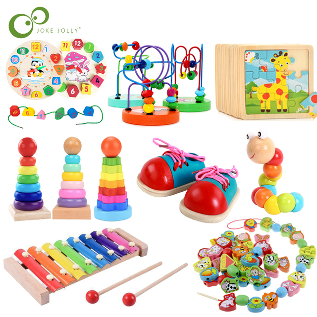$ US $1.98 Baby Educational Toys Wooden Toys Montessori Early Learning Baby Birthday Christmas New Year Gift Toys for Children GYH