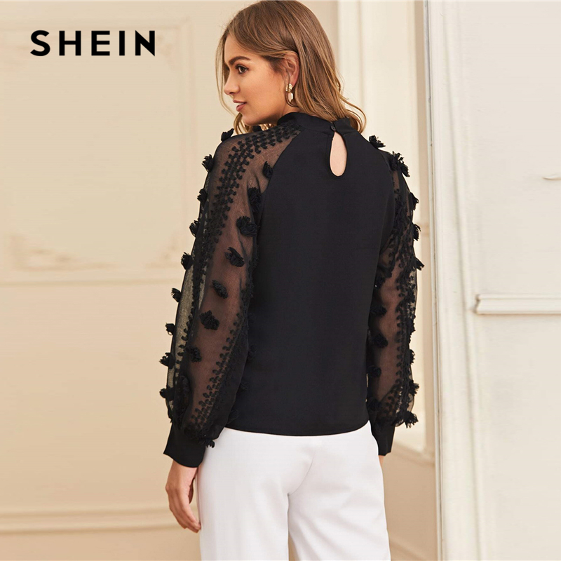 SHEIN Black Solid Contrast Mesh Sleeve Elegant Blouse Women Tops Spring Korean Stand Collar Office Ladies Blouses And Tops 2