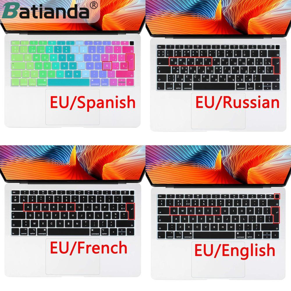 Пыленепроницаемый Чехол для клавиатуры, евро, русский, испанский, французский, Арабская, для Macbook New Air 13, 2019, 2020, A2179, A1932, Touch ID