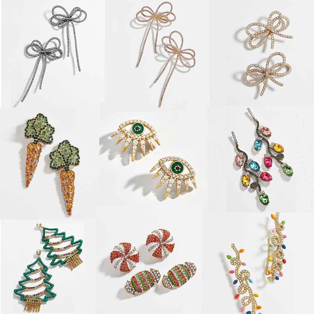 Best lady Crystal Double Bow Drop Earrings Multi Color Lantern Snow Flower Girls Party Earrings Christmas Women Wedding Earrings(China)