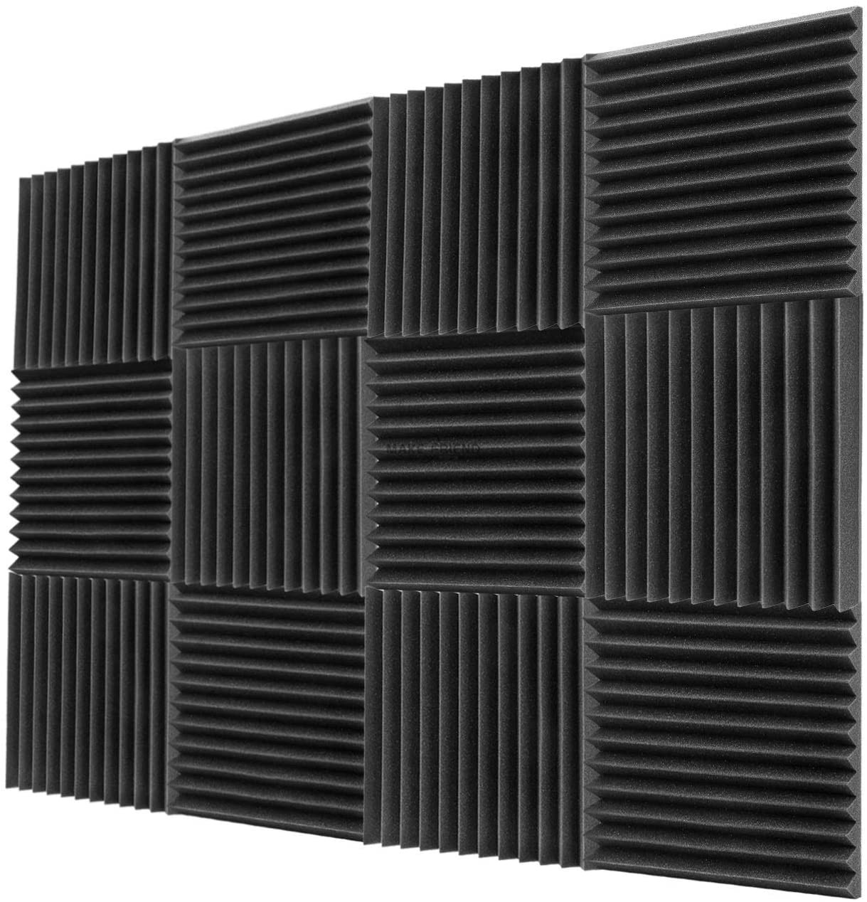 Painéis de parede à prova de som da prova de som das cunhas do estúdio da isolação sadia da espuma acústica de 12 pces 300x300x25mm para a barra de ktv