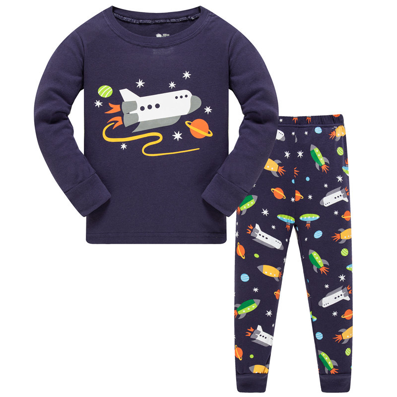 Boys 2 Piece Summer Pjs Outfit Cute Kids Top and Shorts Pajama Sets Cartoon Dinosaur Sleepwear 1-7 Years