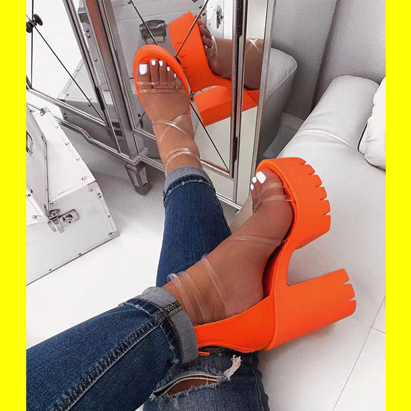 Summer Orange PVC Jelly Sandals Open Toe Thick High Heels Women Shoes Platform Transparent Sandals For Women Plus Size 37-41