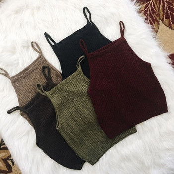 Sexy Crop Top Women Vest Ribbed Slim Solid Colors Sling Crop Tank Top Femme Summer Strapless Halter Shirt 2020 New Camisole women solid round neck ribbed tank top camisole women 2020 summer basic elastic tank top o neck solid tank top plus size