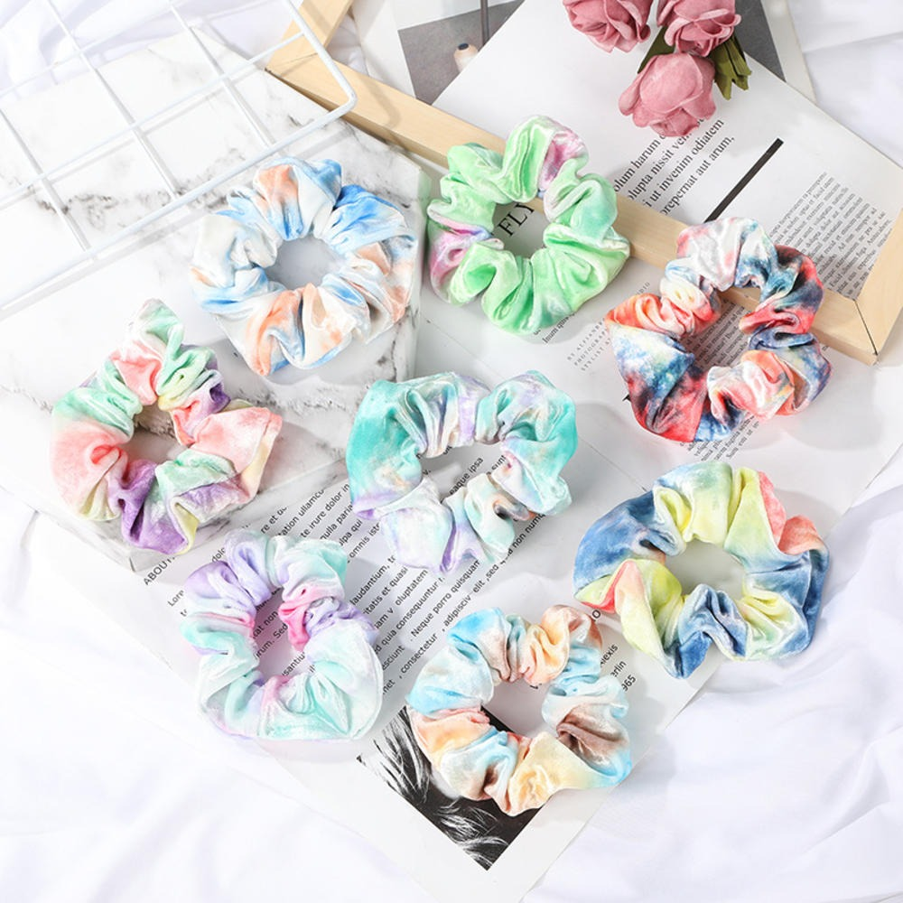 1PC Soft Velvet Hair Scrunchie Loop Holder Stretchy Hair Band Tie Dye Women Rainbow Hair Accessories Elastic Hairbands
