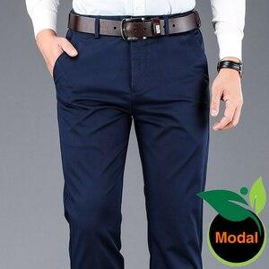 4 цвета, мужские деловые повседневные брюки из модальной ткани, прямые брюки высокого качества, мужской бренд, темно-синий светильник, серый,...