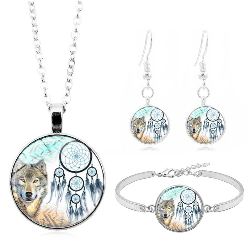 Dreamcatcher Wolf Photo Glass Cabochon Fashion Jewelry Set Necklace Bracelet Earring Jewelry Sets for Women