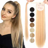Synthetic Ponytail Extensions Long Straight/Wavy Clip-on Hair Extension Headwear Ponytail Fake Hair Ponytail Hair Extension