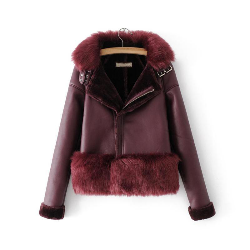 Women Autumn Winter   Leather   Jackets Fashion New2019 Streetwear Overcoats Ladies Locomotive Fur Short Slim Warm   Leather   Coat