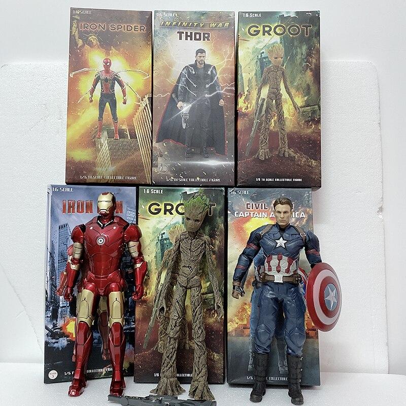 30cm 12 pouces Empire jouets capitaine amérique fer araignée homme Spiderman Thor arbre homme PVC Action figurine modèle jouet