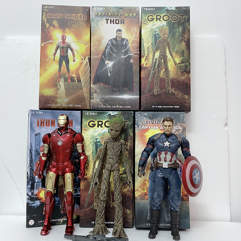 30cm 12inch Empire Toys Captain America Iron Spider Man Spiderman Thor Tree Man PVC Action Figure Model Toy