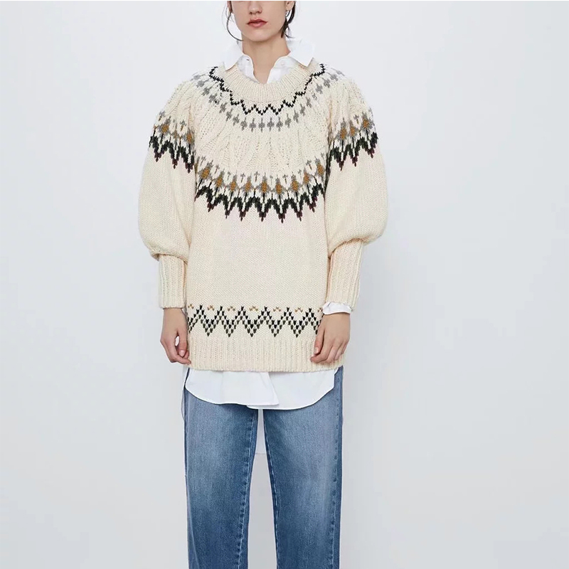 ZA 2020 Women White Beige Vintage Jacquard Knitted Sweater Lantern Sleeve Pullover Female Oversize Woman Pull
