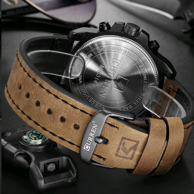Curren 8314 marca de luxo quartzo relógio masculino militar à prova dmilitary água pulseira couro esporte dos homens relógios moda casual masculino clock clock clock 5