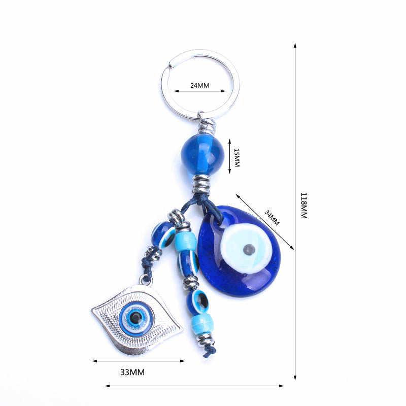 Ojo de la suerte azul de mal de ojo llavero de cristal de aleación de borla búho clave Hamsa mano regalo para hombres y mujeres chico joyería regalos EY1082